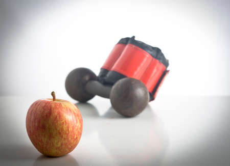 objects: apple and work out objects