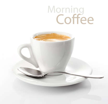 cup morning coffee on saucer Stock Photo