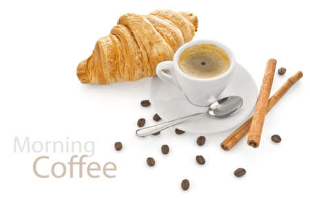 cup coffee with croissant isolated on white background Stock Photo