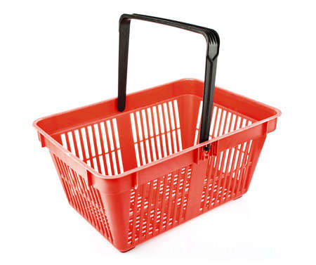 shopping basket: empty shopping basket isolated on white background Stock Photo