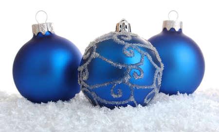 blue christmas decoration isolated on white background Stock Photo