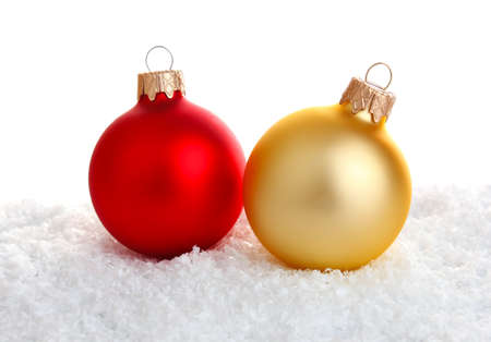 red and gold christmas decoration isolated on white background Stock Photo