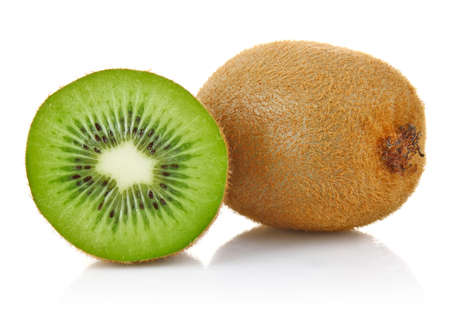 one and a half fresh juicy kiwi isolated on white background photo