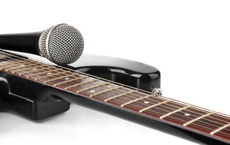 guitar with microphone isolated on white background Stock Photo