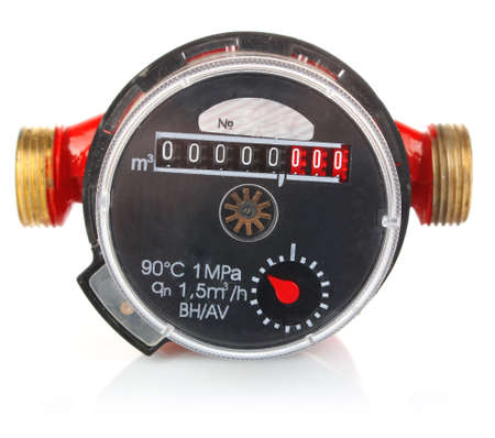 meter for accountability quantity water isolated on white background Stock Photo