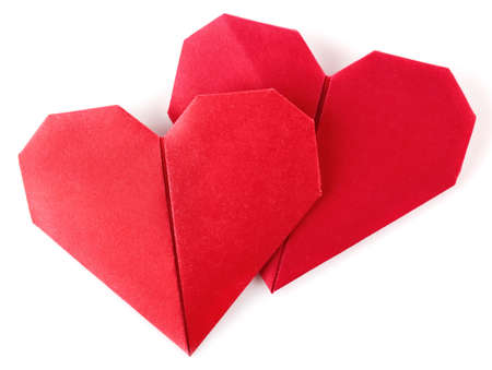 pair valentine origami isolated on white background photo