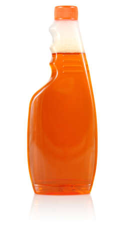 limpid: means for cleaning in limpid bottle isolated on white background Stock Photo