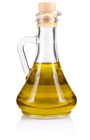 aceite de cocina: el aceite de oliva en botella aisladas sobre fondo blanco