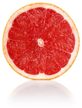 slit juicy grapefruit isolated on white background
