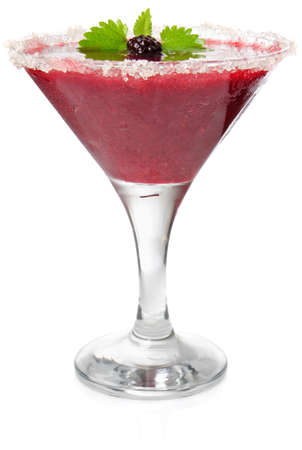 daiquiri alcohol: daiquiri of blackberry and strawberry with mint isolated on white background Stock Photo