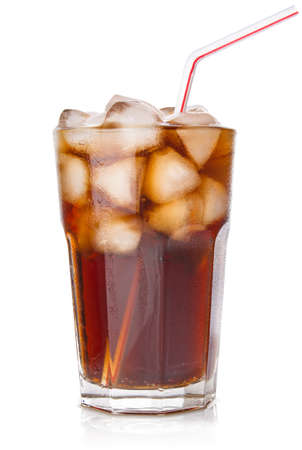 cola with ice in glass isolated on white background Stock Photo