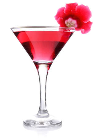 red floral cocktail isolated on white background