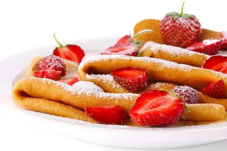 fresh pancake with strawberry isolated on white background