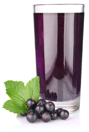 black currant with juice and green leaf isolated on white background
