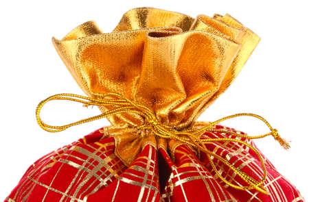 unexpectedness: Navidad lleno de regalos saco aislado en el fondo blanco