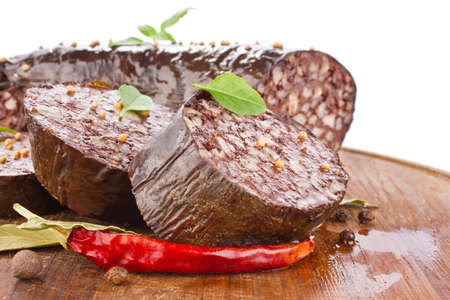 blood sausage with spice isolated on white background Stock Photo - 16935533