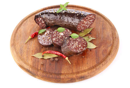 blood sausage with spice isolated on white background Stock Photo - 17049427