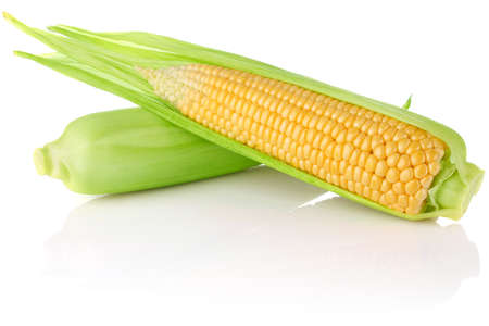 ripe juicy corn isolated on white background photo