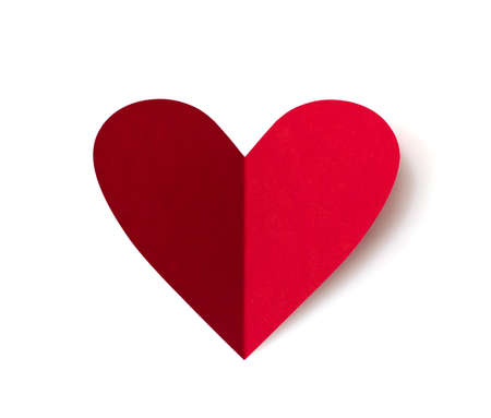 Paper heart for valentines day. Isolated on white background Stock Photo