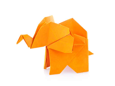 Orange elephant of origami. Isolated on white background Stock Photo