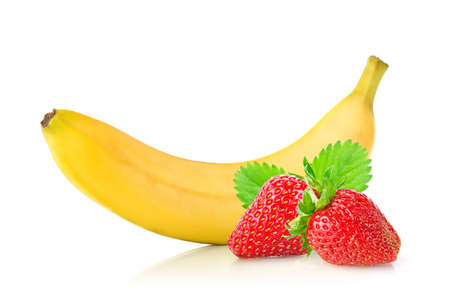 Ripe fresh banana and juicy strawberry with green leaf. Isolated on white background