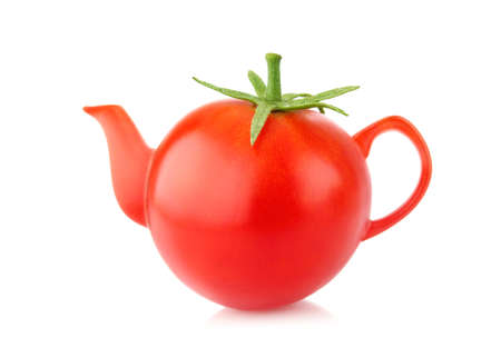 Creative conception juicy tomato kettle. Isolated on white background