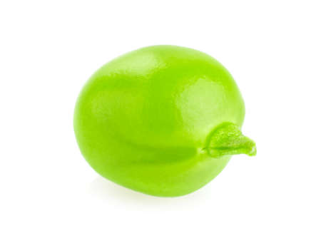 Fresh,juicy seed of green pea macro,  isolated on white background Stock Photo