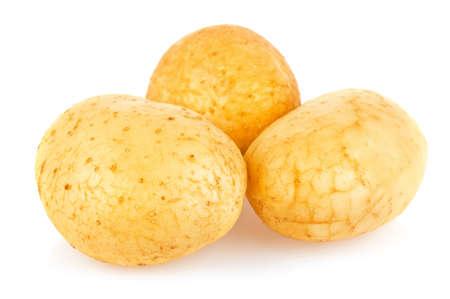 New fresh raw organic potatoes, isolated on white background