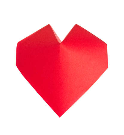 3d heart: Red 3d heart of origami, isolated on white background. Stock Photo
