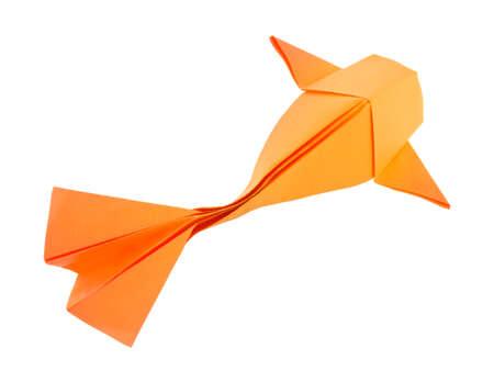 Orange fish of origami, isolated on white background