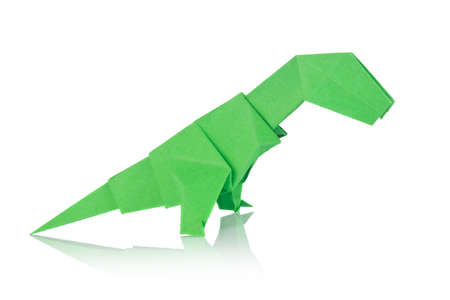 raptorial: Green dinosaur Rex of origami, isolated on white background