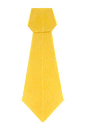 Yellow ascot (cravat) of origami, isolated on white background.