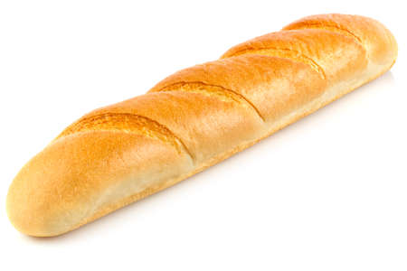 Fresh aromatic organic baguette, isolated on white background. Stock Photo