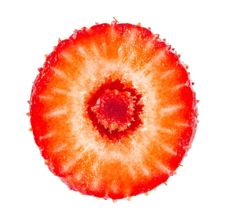 Ripe juicy strawberry slice, isolated on white background.
