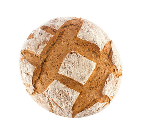 Freshly baked domestic rye bread with bran, top view, isolated on white background.