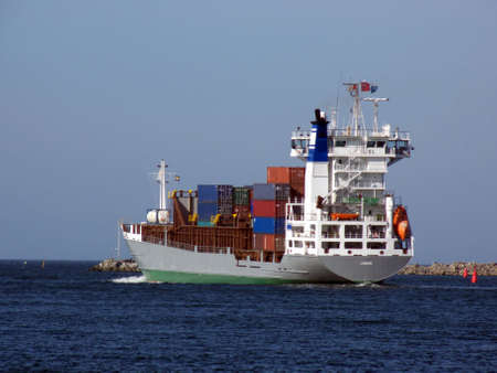 portrait of ship on ocean going to England photo