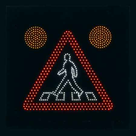 gridlock: portrait of traffic sign warning for walking people Stock Photo