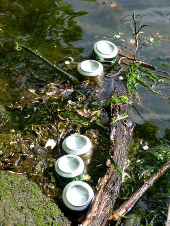 portrait of cans thrown in lake Stock Photo - 918936