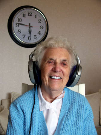 portrait of smiling lady relax and listen to music