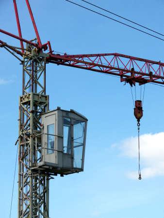portrait of old mobile crane at construction site photo