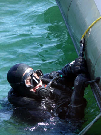 portrait of military diver on mission photo