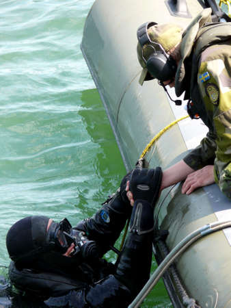 portrait of military diver on mission