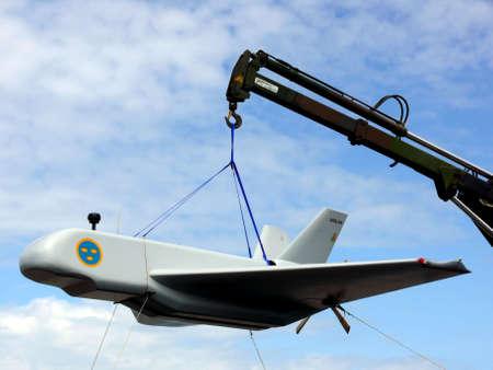 portrait of swedish military airplane prototype Reklamní fotografie