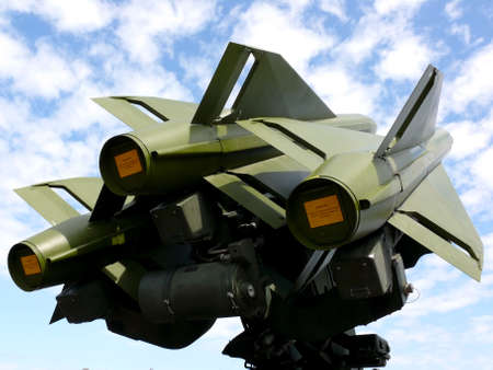 portrait of antiaircraft missiles in the sky
