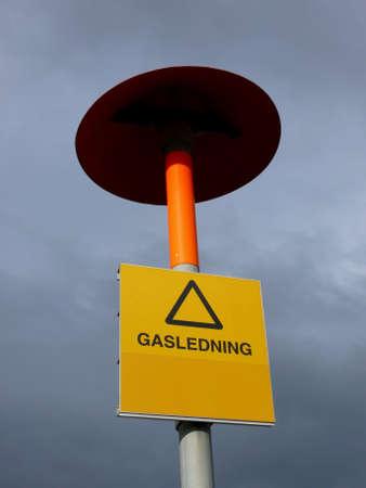 portrait of liquid gas warning sign photo