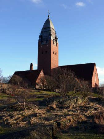 ericsson: portrait of Masthugg church from 1914 in Gothenburg Sweden