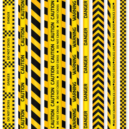 police line: Yellow with black police line and danger tapes. illustration. Illustration