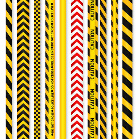police line: Yellow with black and red with white police line and danger tapes. illustration. Illustration