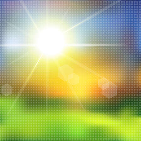 Green grass and blue sky with summer sun burst with halftone effect. illustration.