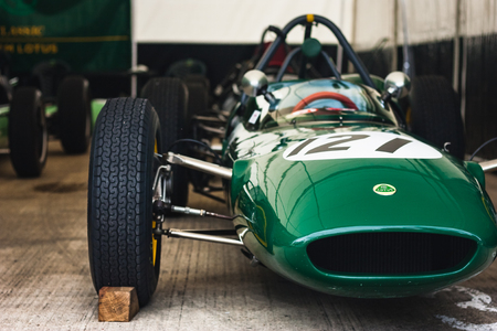 Silverstone, United Kingdom- July 29, A 1961 Lotus 21 F1 car in the pitbox on the 2017 Silverstone Classic Event Editorial